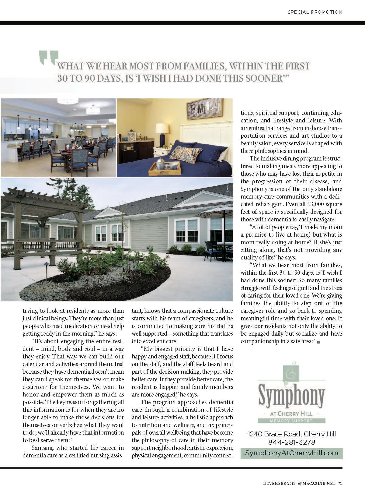 Second half of article about Symphony at Cherry Hill in Cherry Hill, New Jersey.