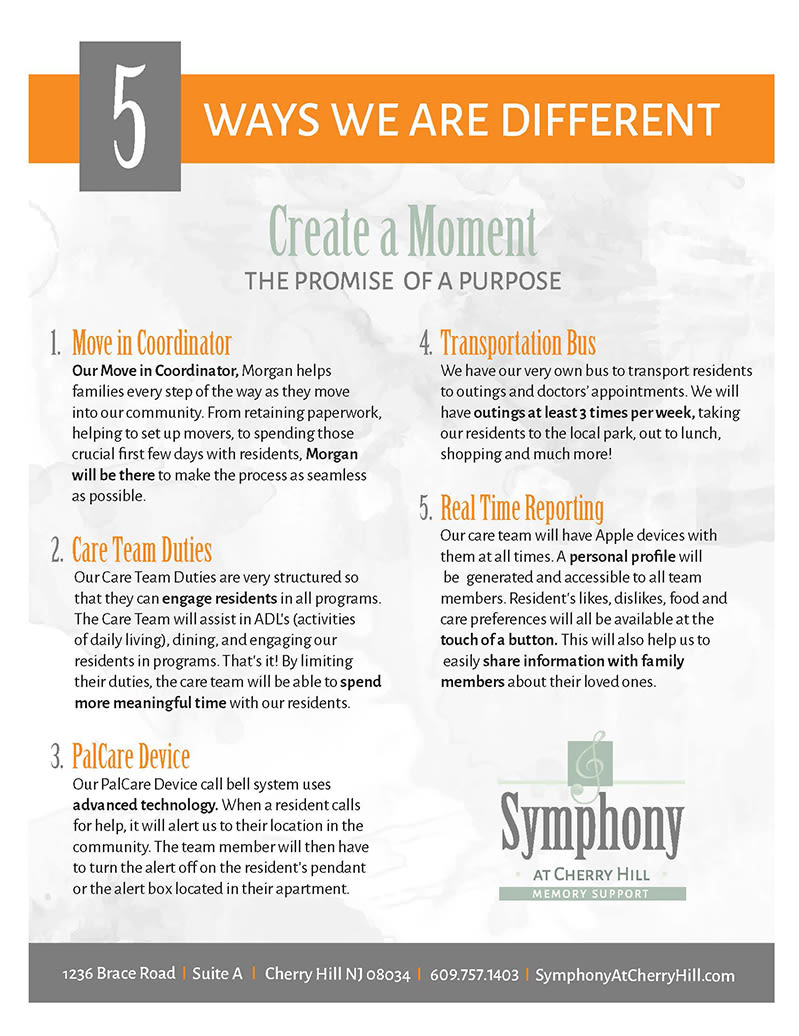 5 Ways we are Different article from Symphony at Cherry Hill in Cherry Hill, New Jersey.