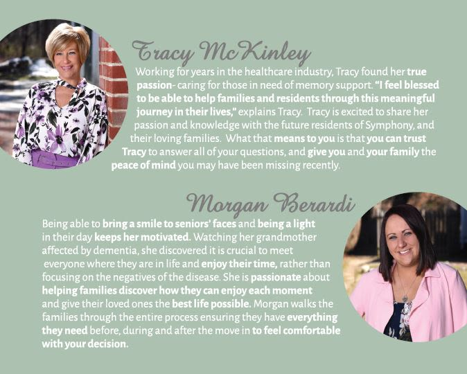 Tracy and Morgan's bio from Symphony at Cherry Hill in Cherry Hill, New Jersey.