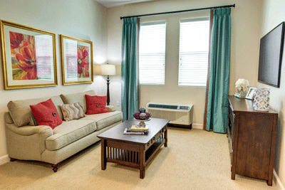 Resident living room at Symphony at Stuart in Stuart, Florida.