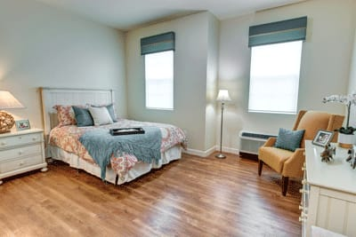 Resident bedroom at Symphony at Stuart in Stuart, Florida.