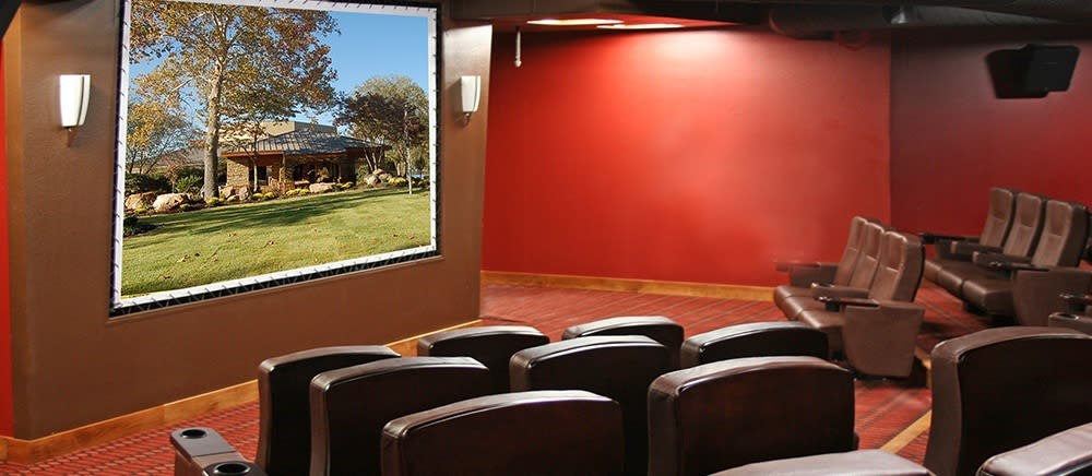 A movie theater at The Atrium at Serenity Pointe in Hot Springs, Arkansas.