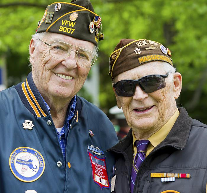 Two veterans at The Lynmoore at Lawnwood Assisted Living and Memory Care in Fort Pierce, Florida.