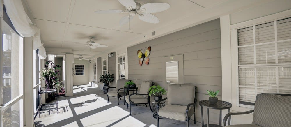 Sun room at The Villas at Sunset Bay in New Port Richey, Florida.
