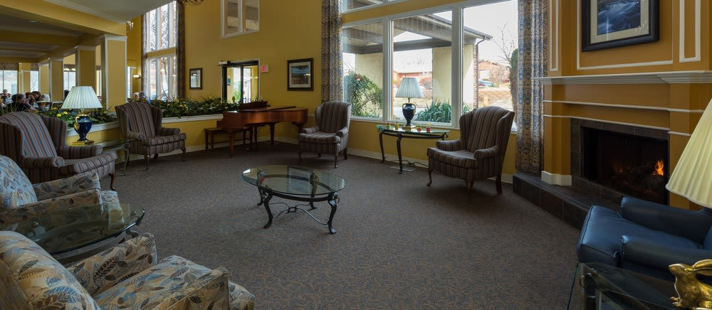 Senior living in Saint George includes a fireplace lounge.