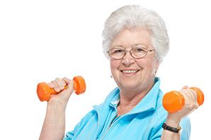 A woman enjoys lifting weights in Las Vegas