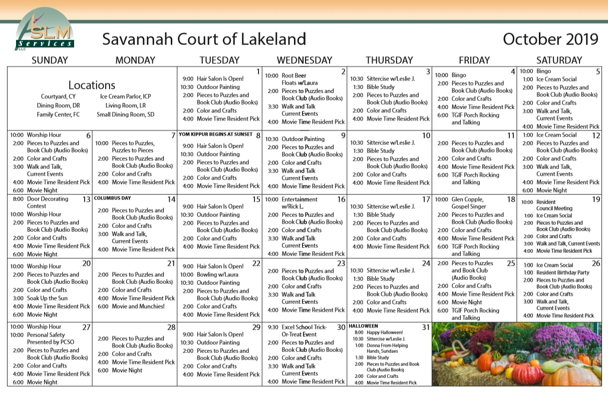 View our monthly calendar of events at Savannah Court of Lakeland
