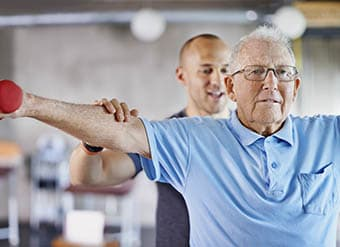 Man Exercising at West Fork Village in Irving, Texas