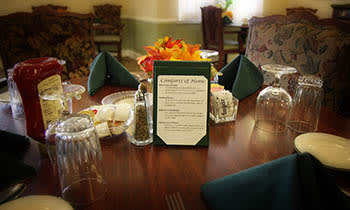 Great dining table at West Fork Village in Irving, Texas