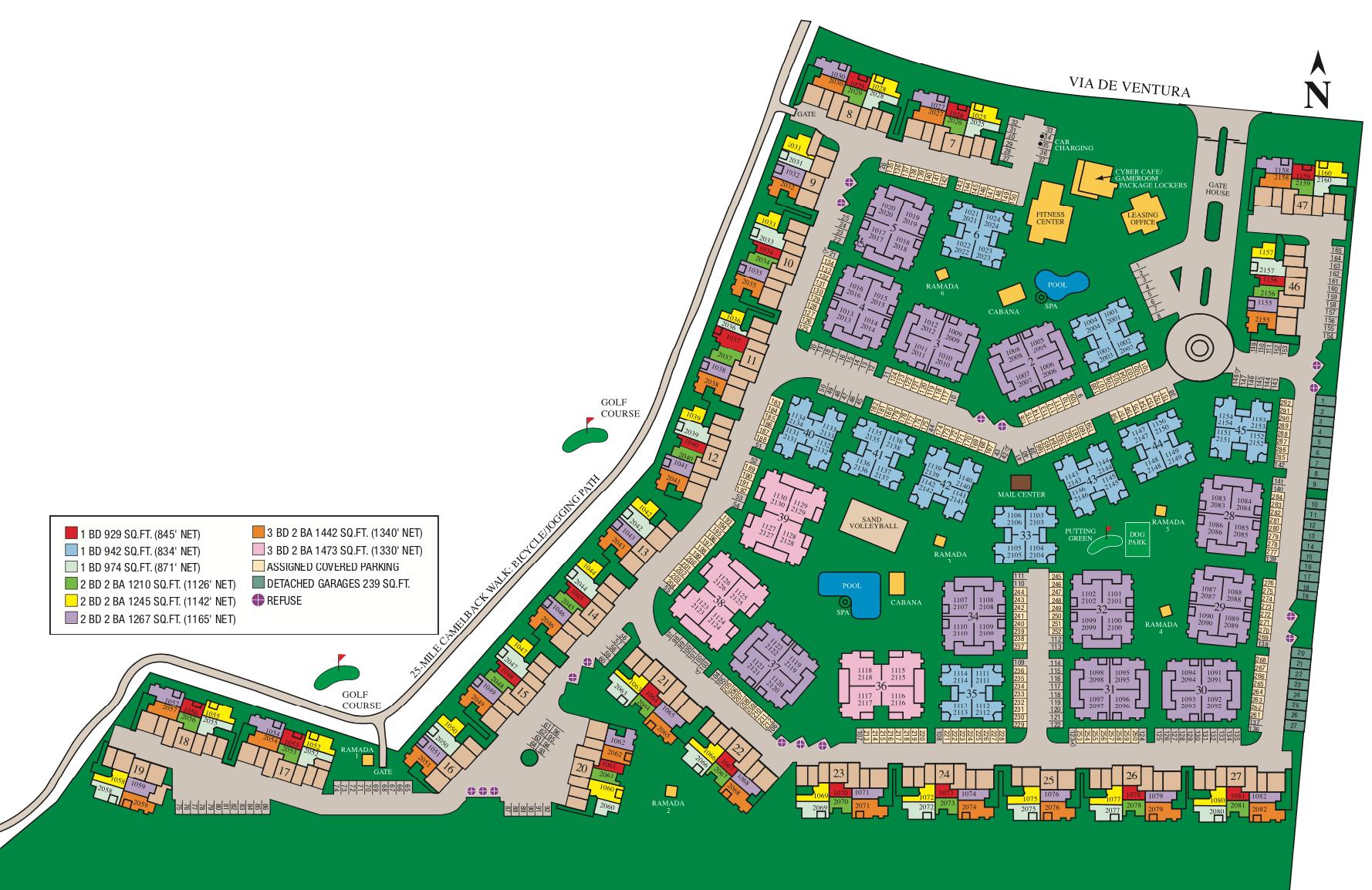 Site map of San Antigua in McCormick Ranch in Scottsdale, AZ