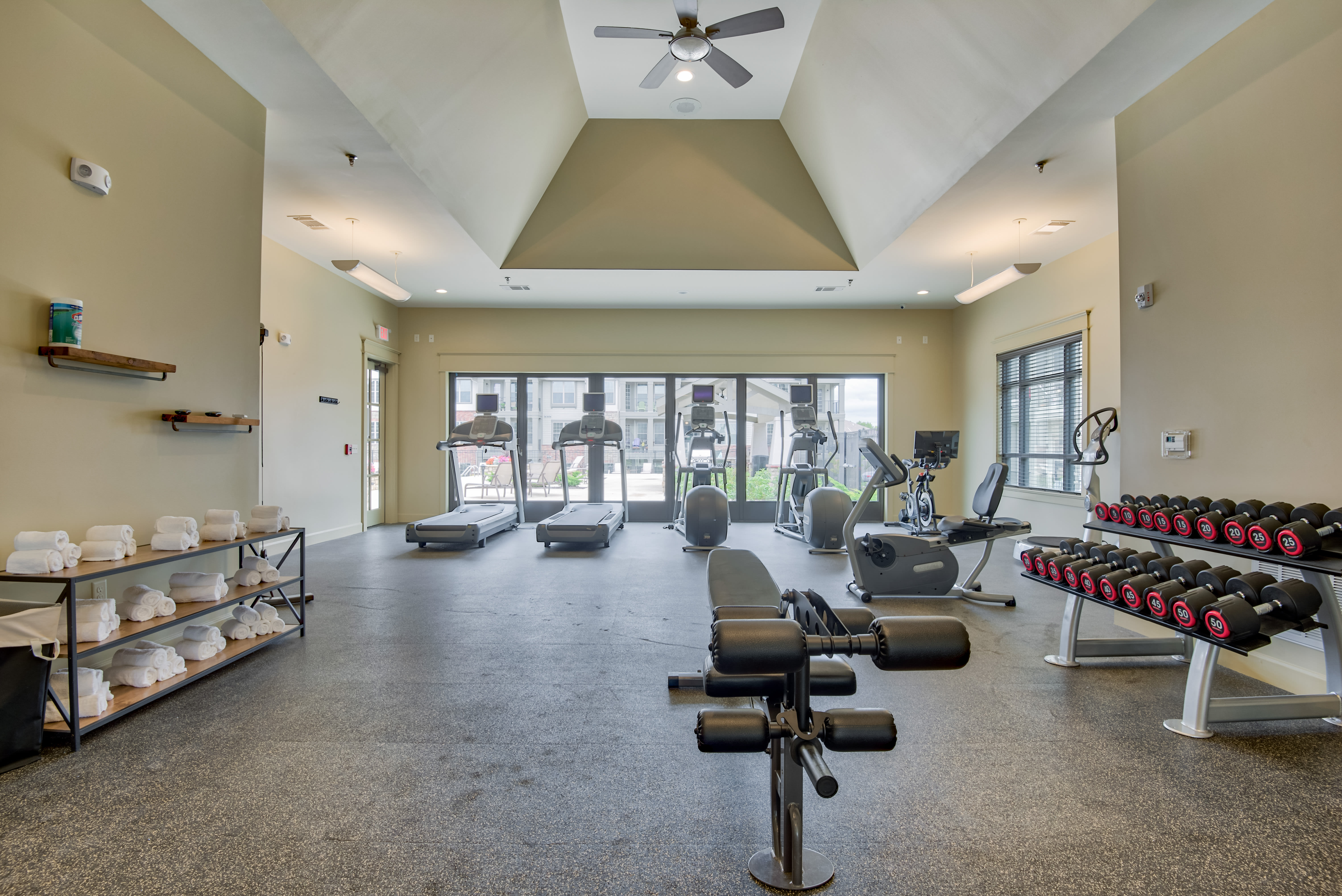 Stylish fitness center at Boulders at Overland Park Apartments in Overland Park, Kansas
