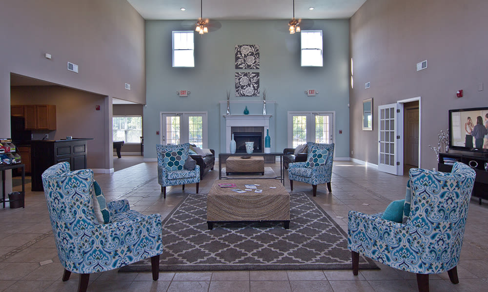 Seating area in the clubhouse at The Overlook at Golden Hills in Lexington, South Carolina