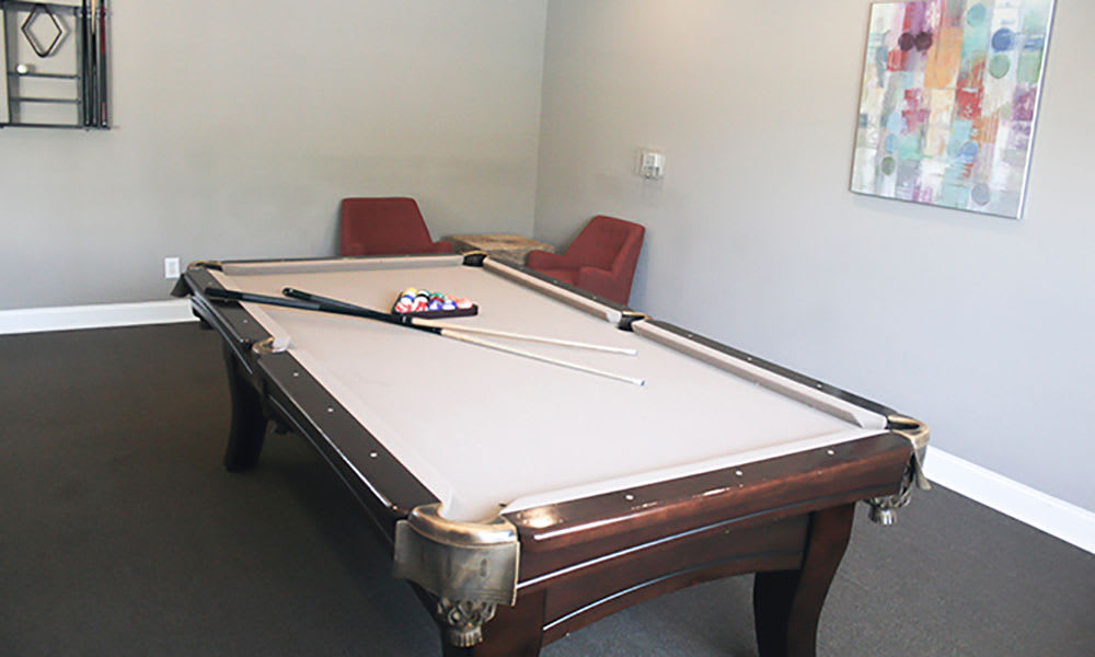 Pool table at The Overlook at Golden Hills in Lexington, South Carolina