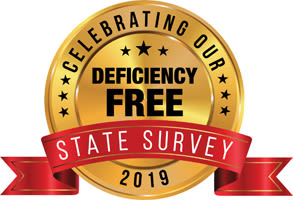 Deficiency free state survey badge for Reflections at Garden Place in Columbia, Illinois