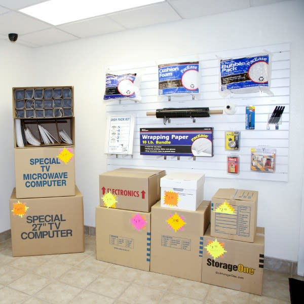 Storage supplies available for purchase at StorageOne Eastern & Silverado Ranch in Henderson, Nevada