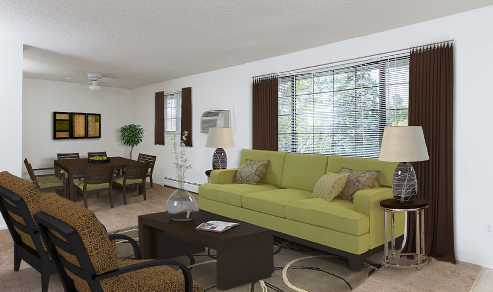 Living room at Creek Hill Apartments & White Oak Apartments in Webster, NY