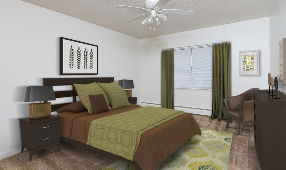Spacious bedroom at Creek Hill Apartments & White Oak Apartments home in Webster, NY