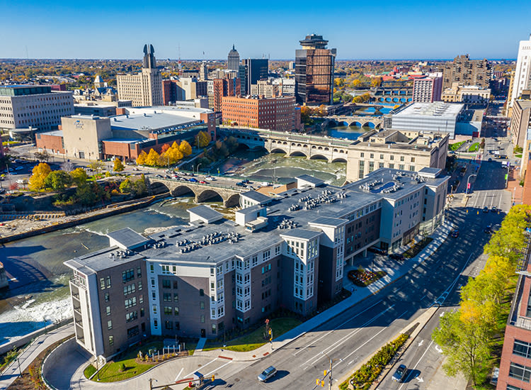 Beautiful downtown views in Rochester, New York