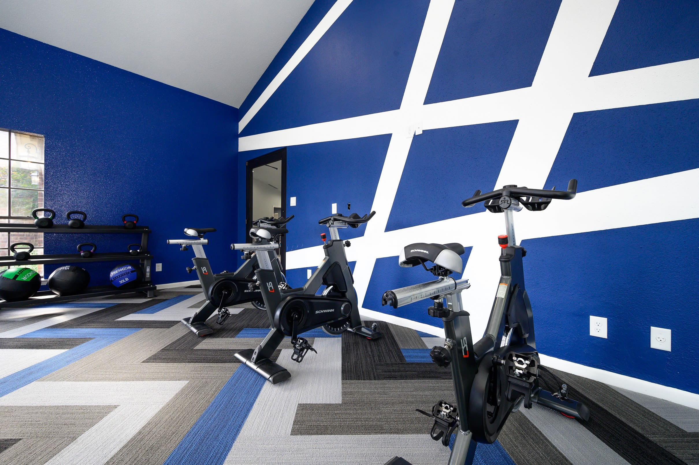 Contemporary fitness center at Laurel Heights at Cityview in Fort Worth, Texas