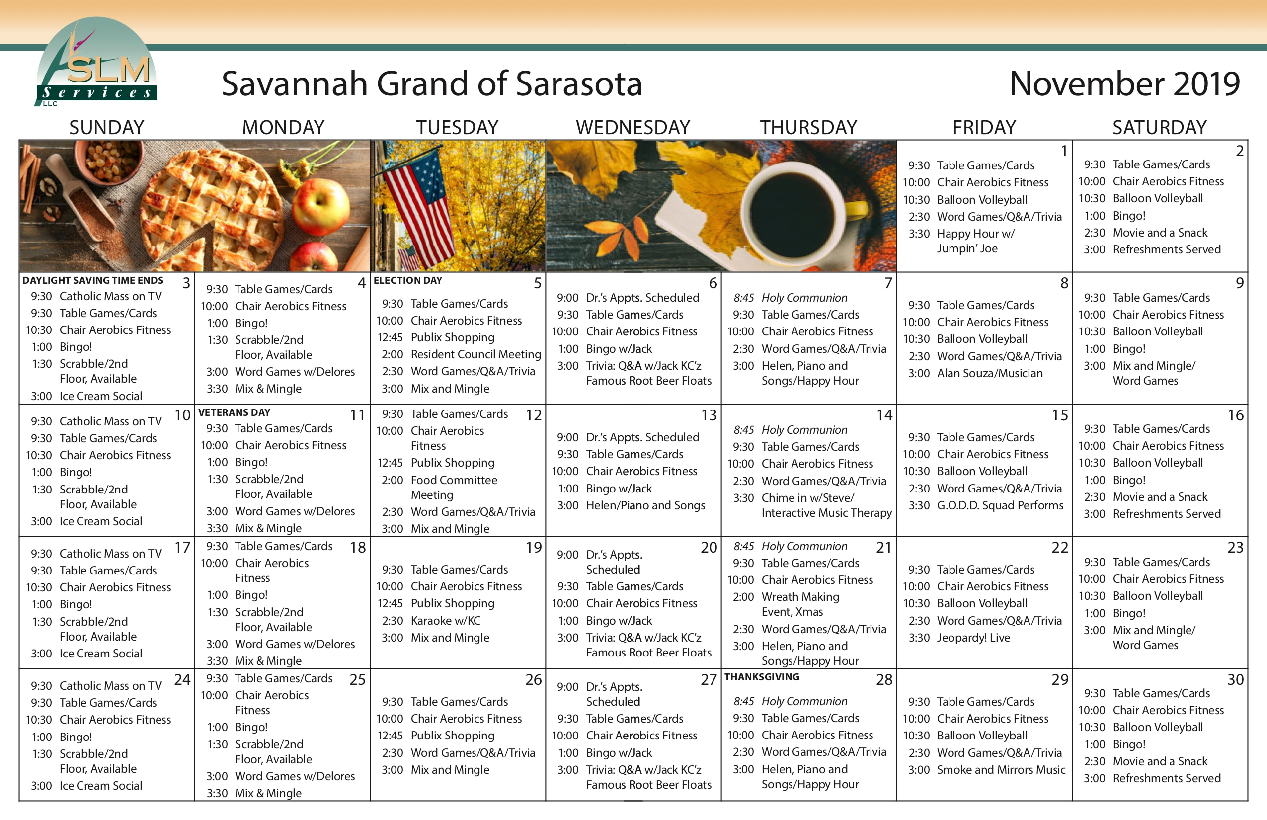 View our monthly calendar of events at Savannah Grand of Sarasota