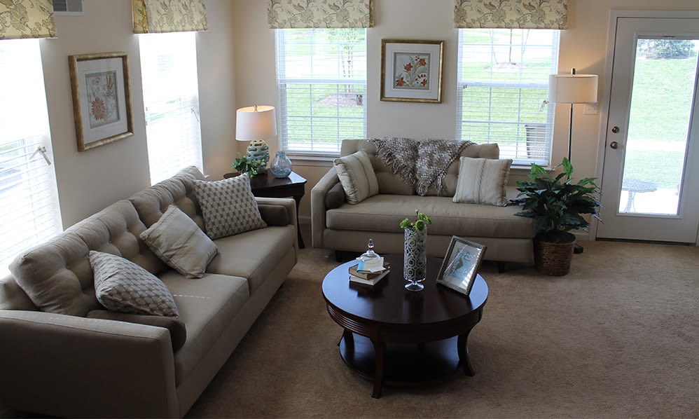 View of living room at The Encore at Laurel Ridge in Harrisburg, PA