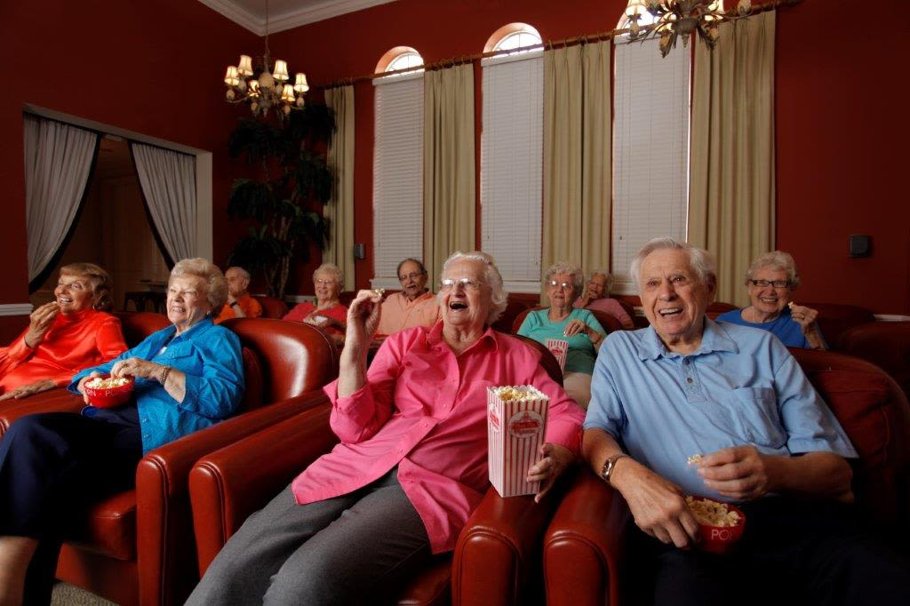 residents watching movies