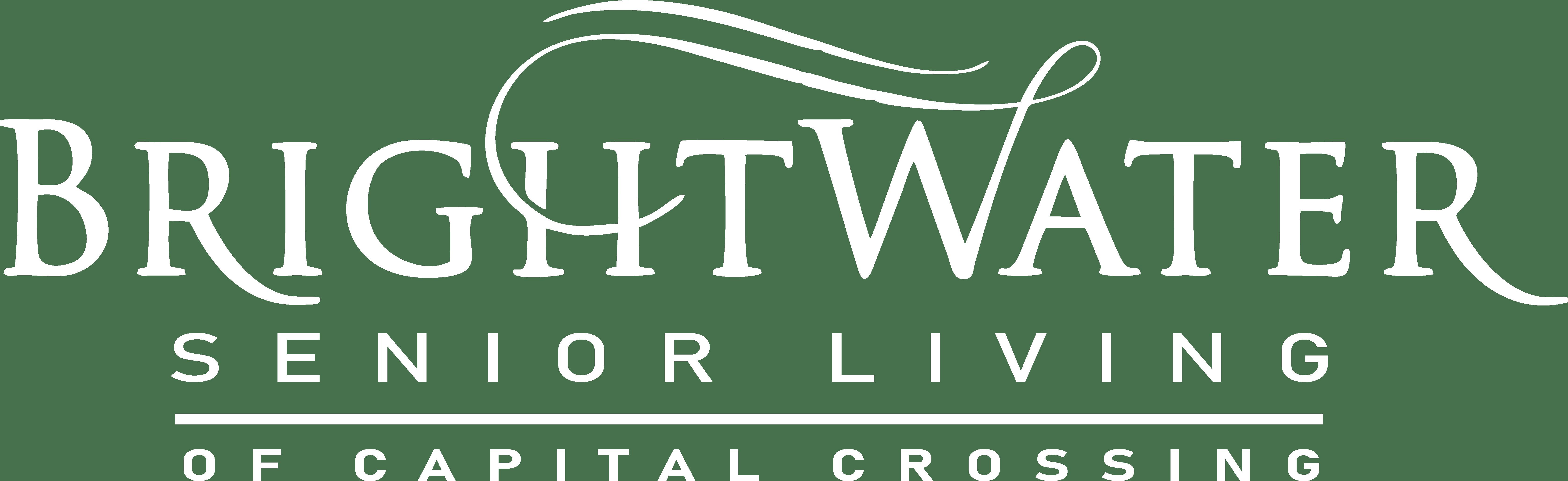 The logo for Brightwater Senior Living of Capital Crossing in Regina, Saskatchewan