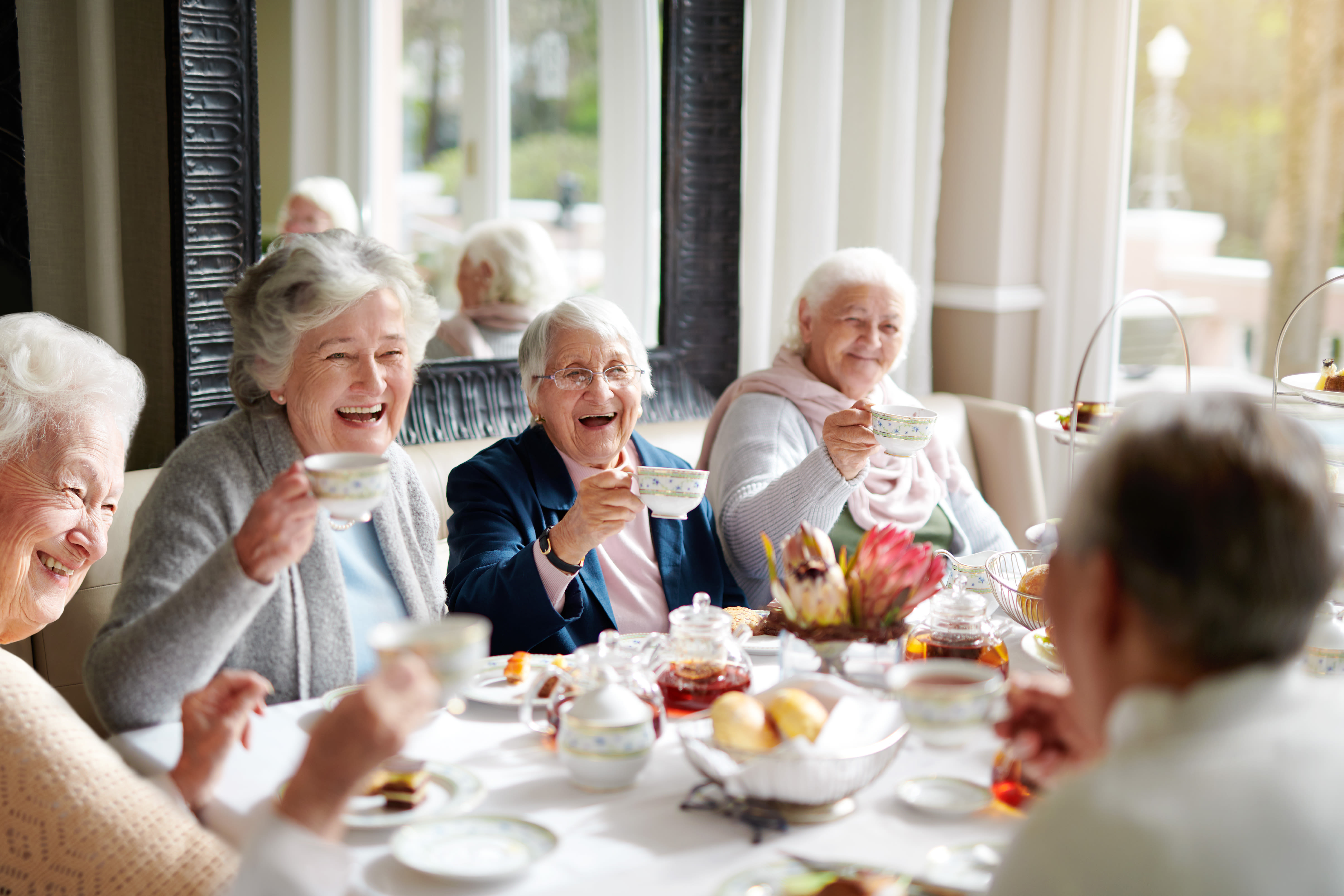 Residents having tea together at Harmony at Eastchase in Montgomery, Alabama