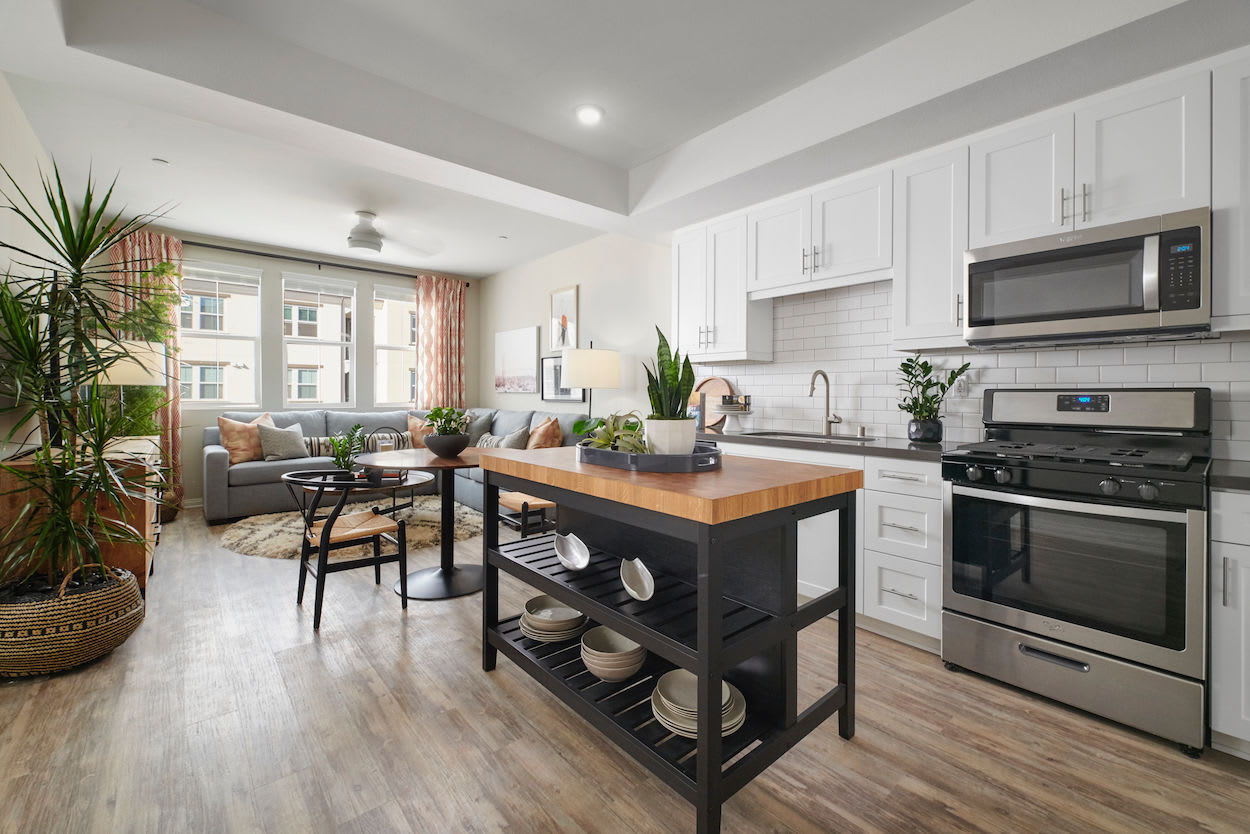 Spacious kitchen with modern amenities at The Trails at Canyon Crest in Riverside, California