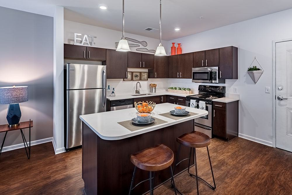 A kitchen that is great for entertaining at The Kane in Aliquippa, Pennsylvania