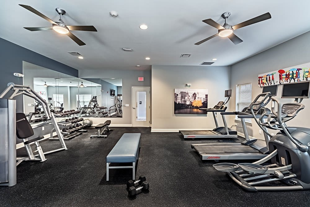 Well equipped fitness center at The Kane in Aliquippa, Pennsylvania