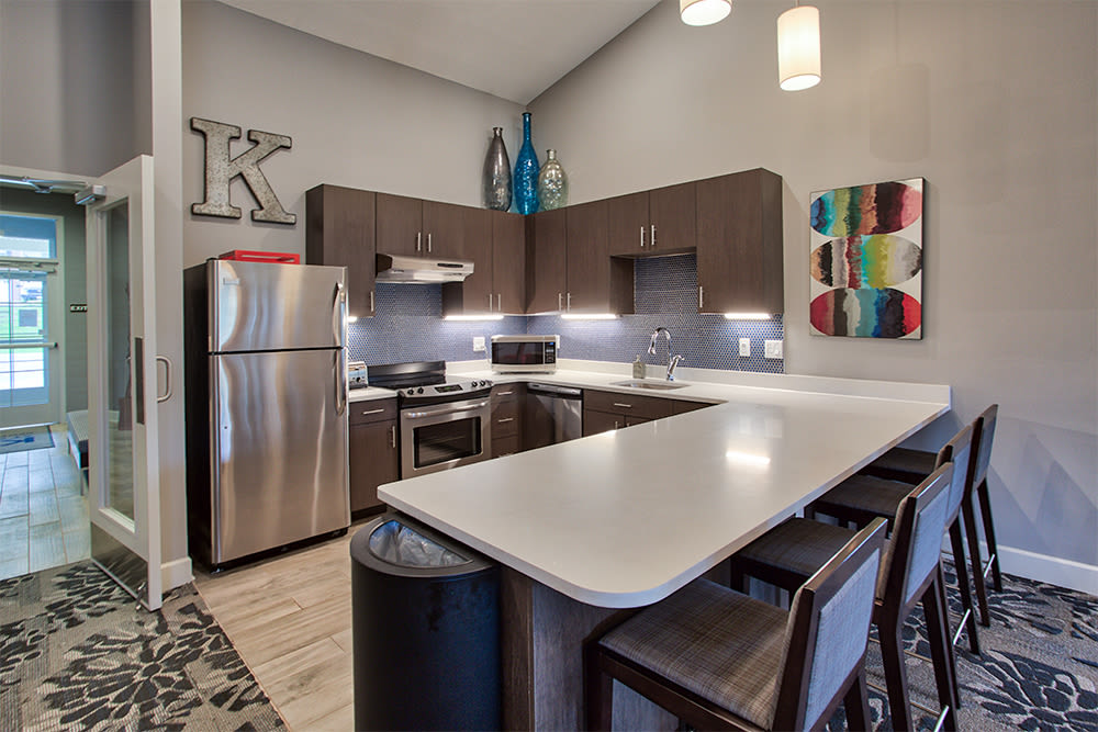Luxury community kitchen at The Kane in Aliquippa, Pennsylvania