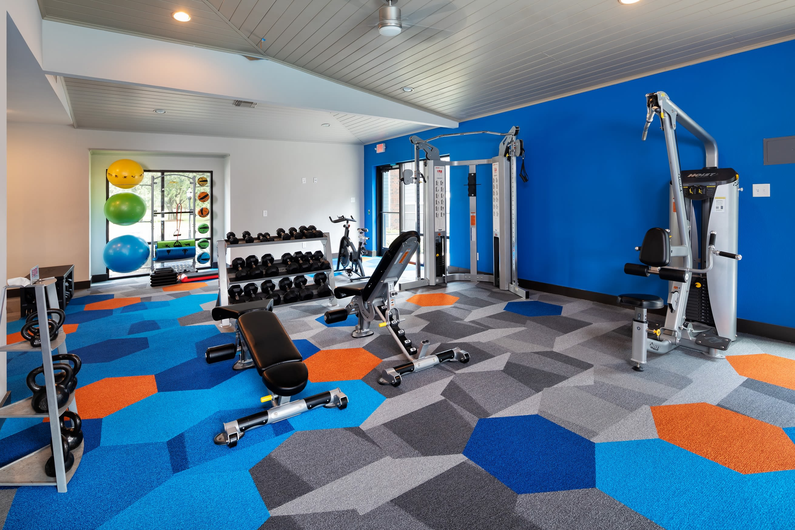 Well equipped fitness center at Hayden at Enclave in Houston, Texas