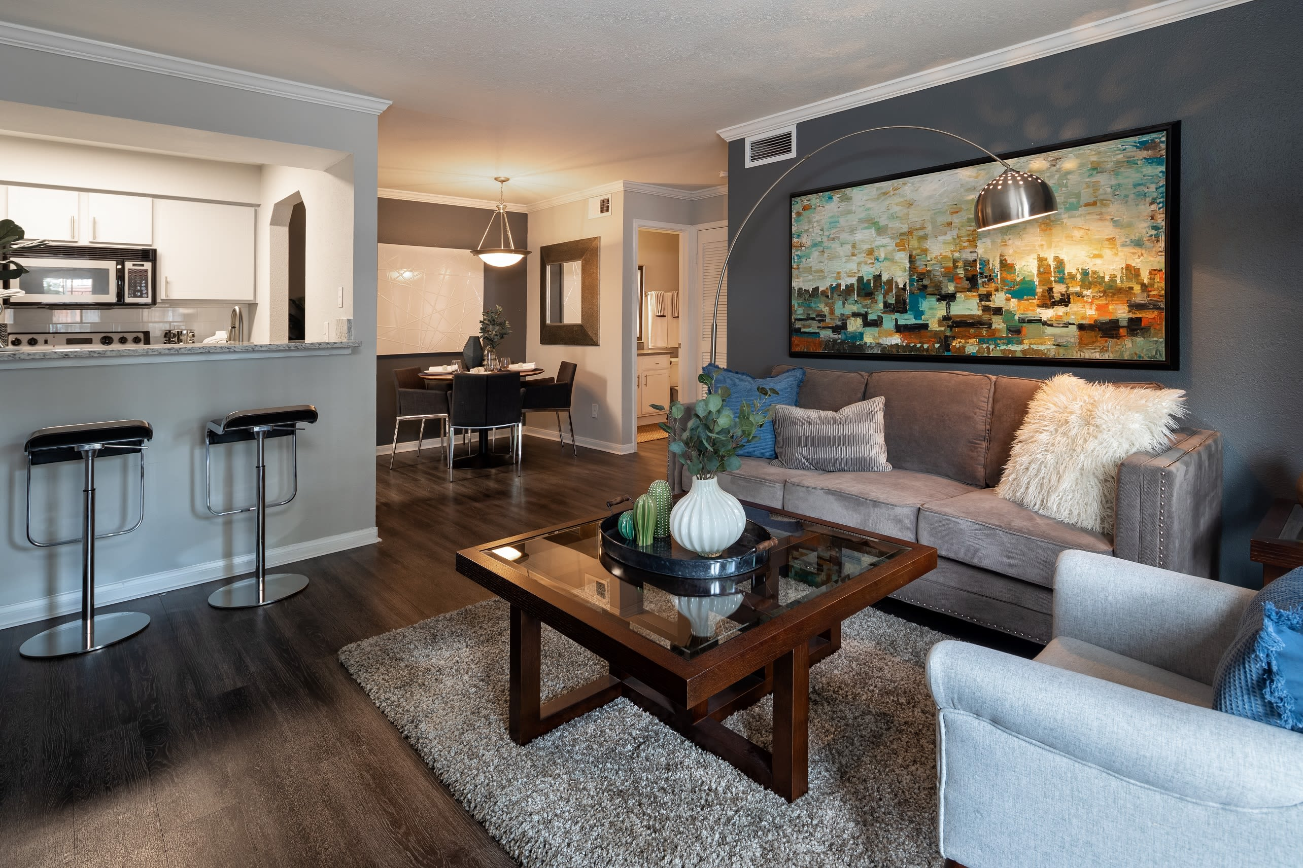 Modern open concept layout at Hayden at Enclave in Houston, Texas