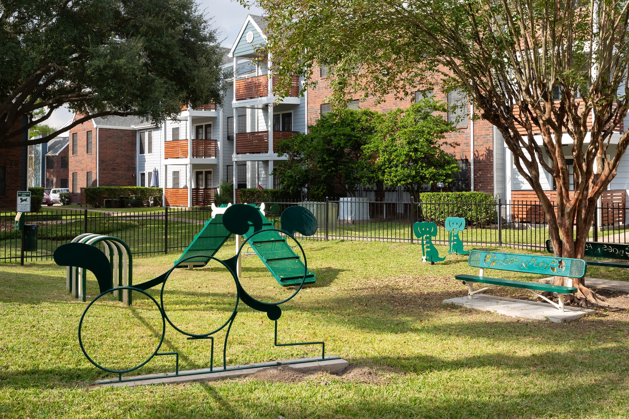 Dog playground within dog park near Hayden at Enclave in Houston, Texas