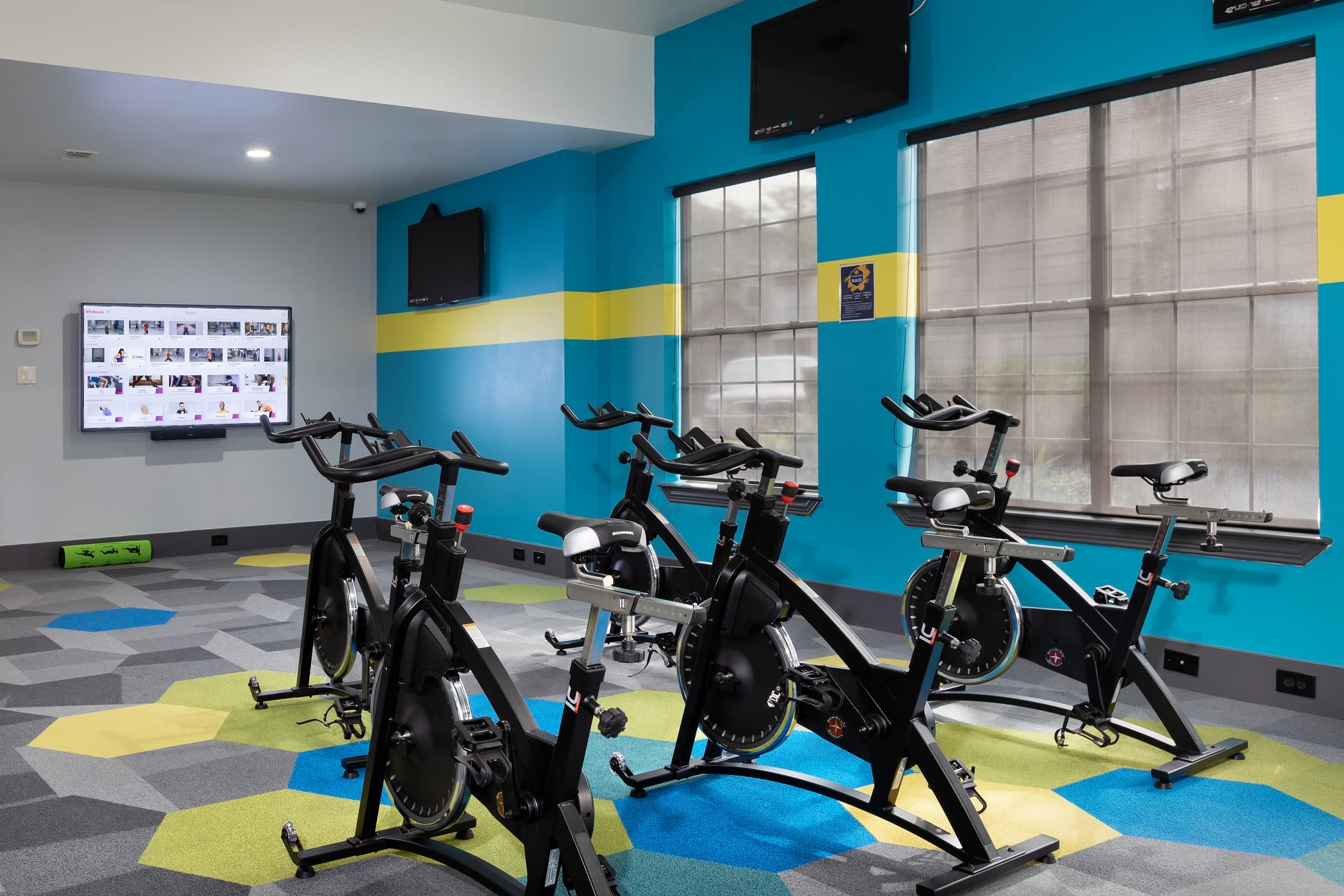 Cycling studio at Artisan at Lake Wyndemere in The Woodlands, Texas