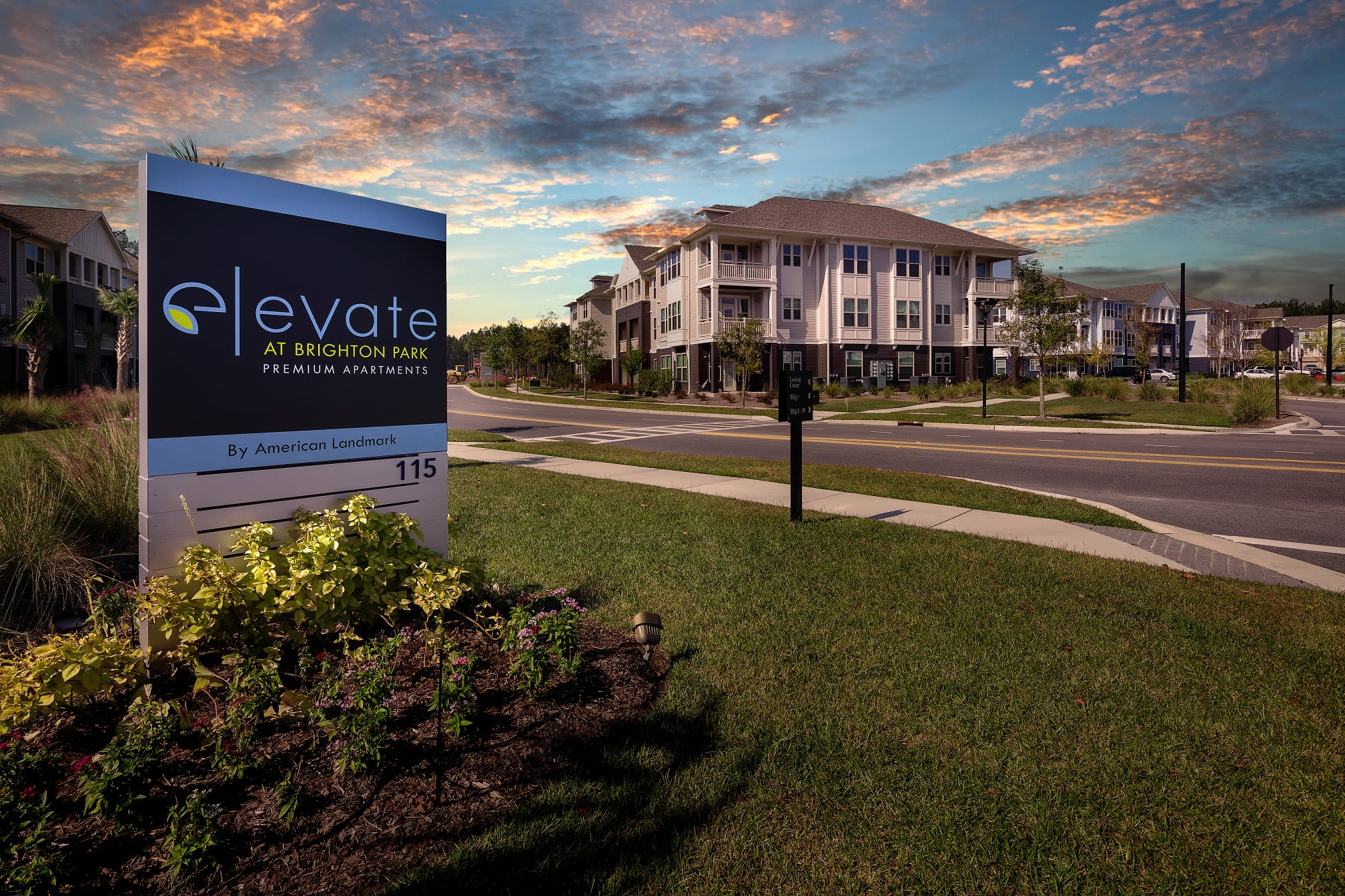 Exterior sunset view of Elevate at Brighton Park in Summerville, South Carolina