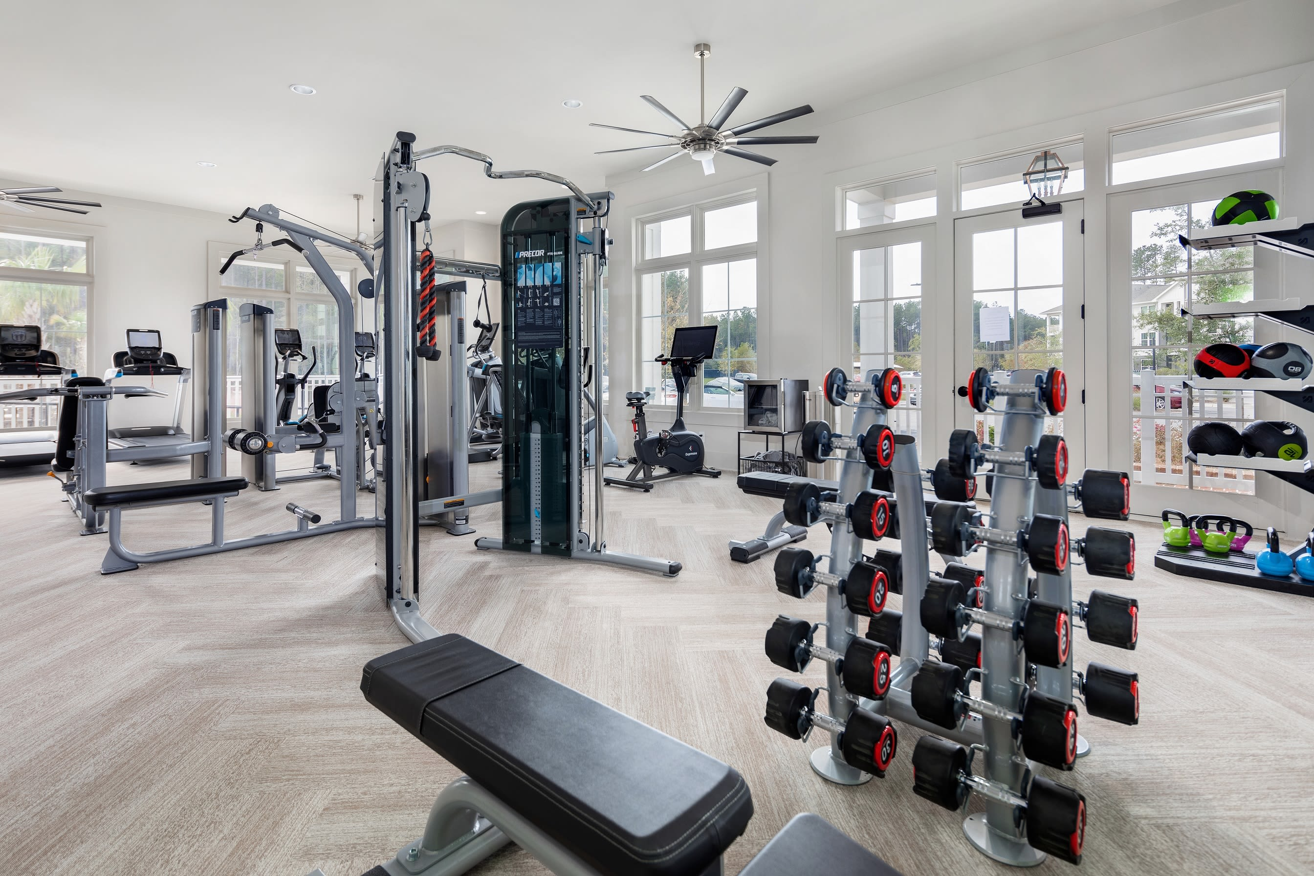 Indoor fitness center at Elevate at Brighton Park in Summerville, South Carolina