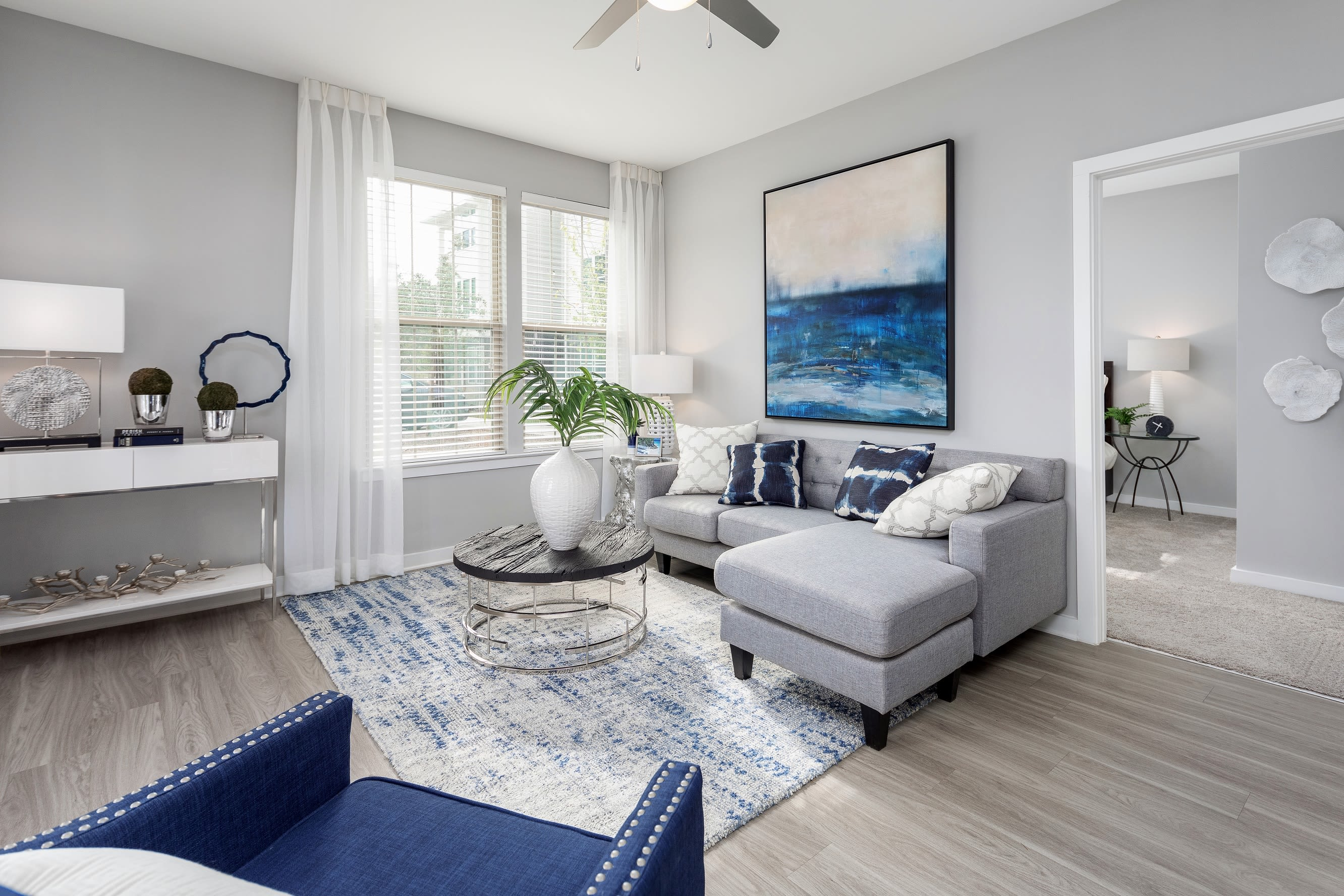 Cozy living room at Elevate at Brighton Park in Summerville, South Carolina