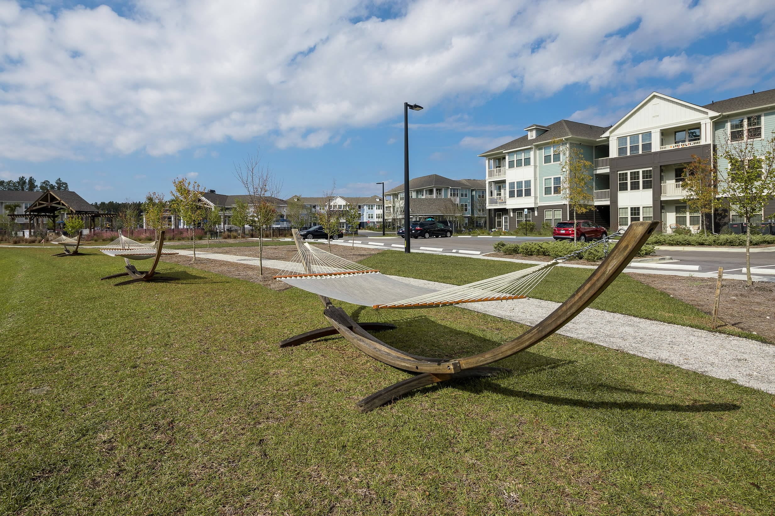Outdoor hammocks in courtyard at Elevate at Brighton Park in Summerville, South Carolina