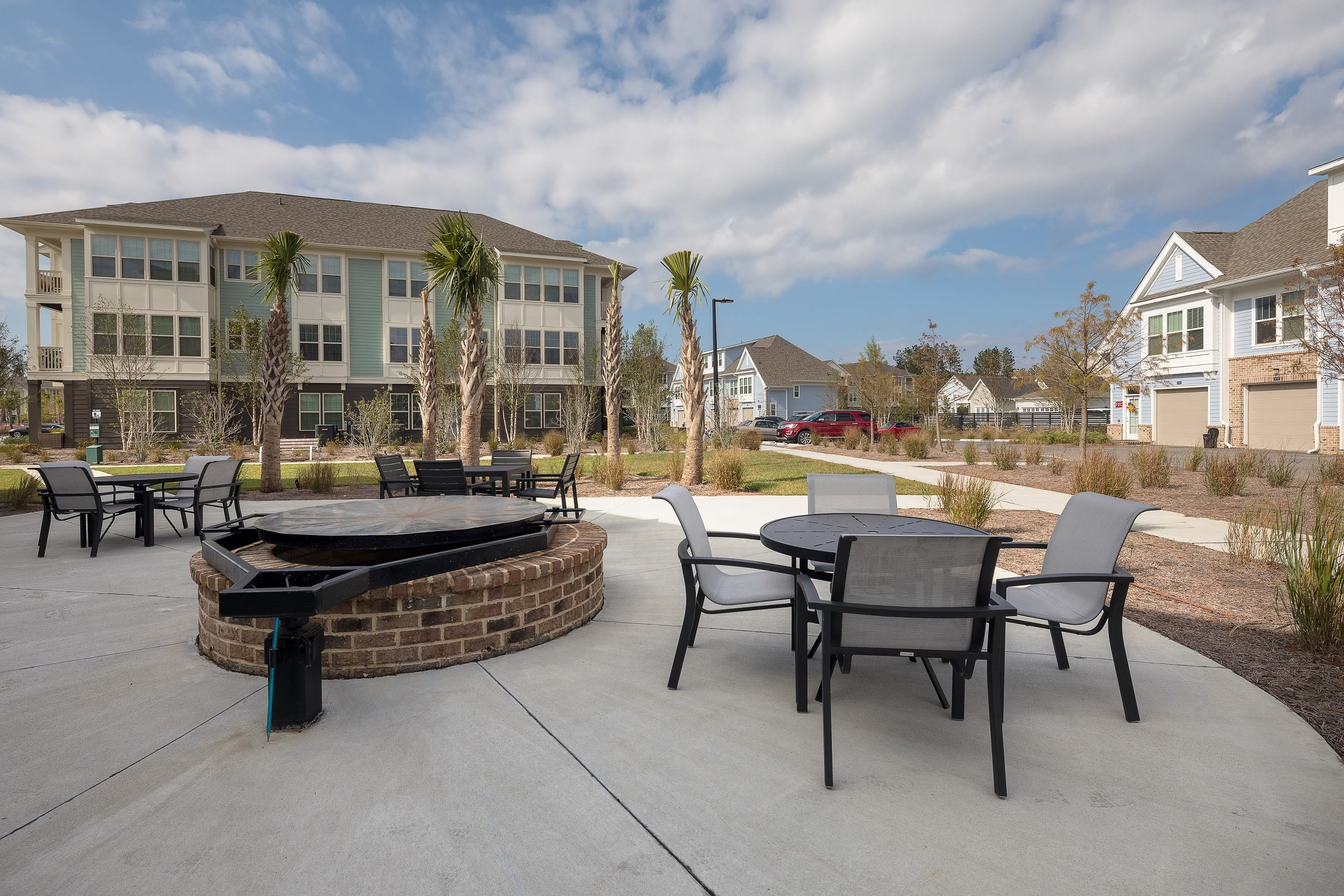 Outdoor seating at Elevate at Brighton Park in Summerville, South Carolina