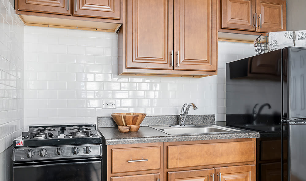 Bright kitchen at 7100 South Shore Apartment Homes in Chicago, Illinois