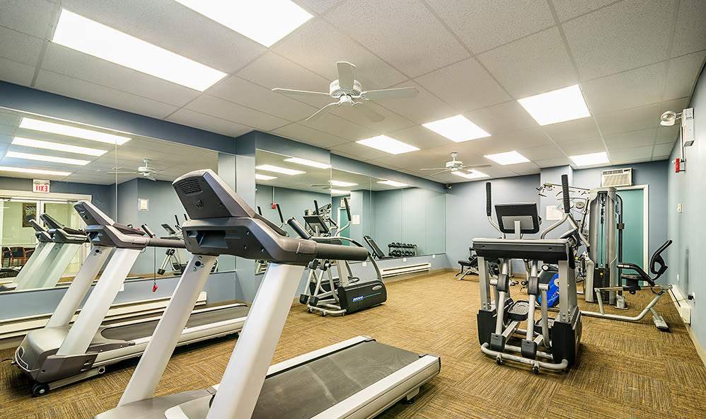 Fitness center at 7100 South Shore Apartment Homes in Chicago, Illinois