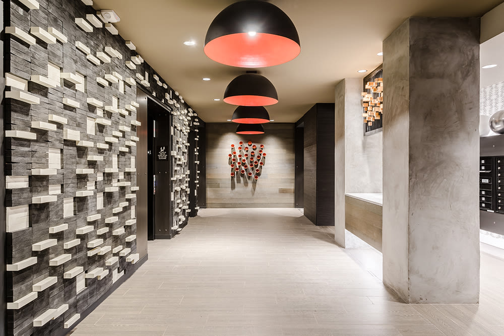 Elevator lobby with stunning features at 933 the U in Rochester, New York