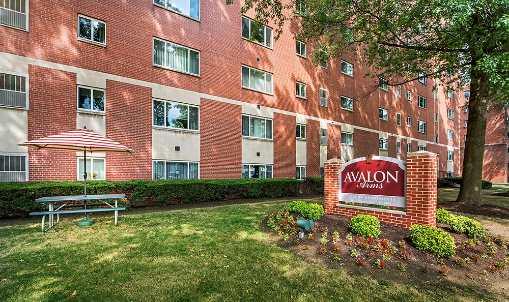 Sign for Avalon Arms Apartments in Avalon, Pennsylvania