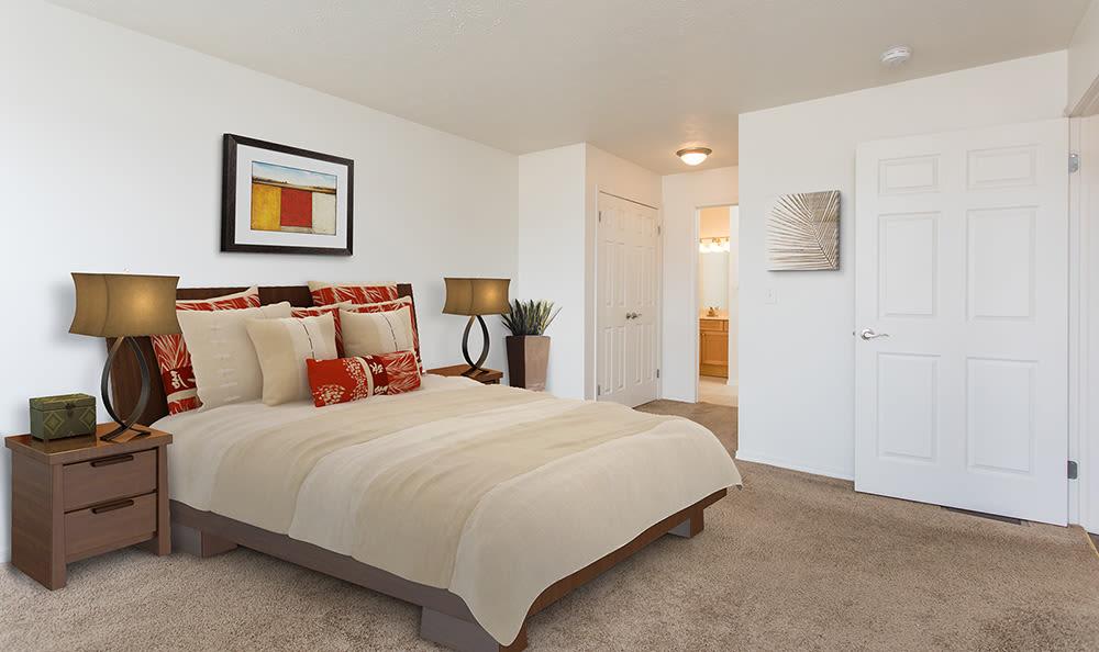 Cozy bedroom at Avon Commons in Avon, New York