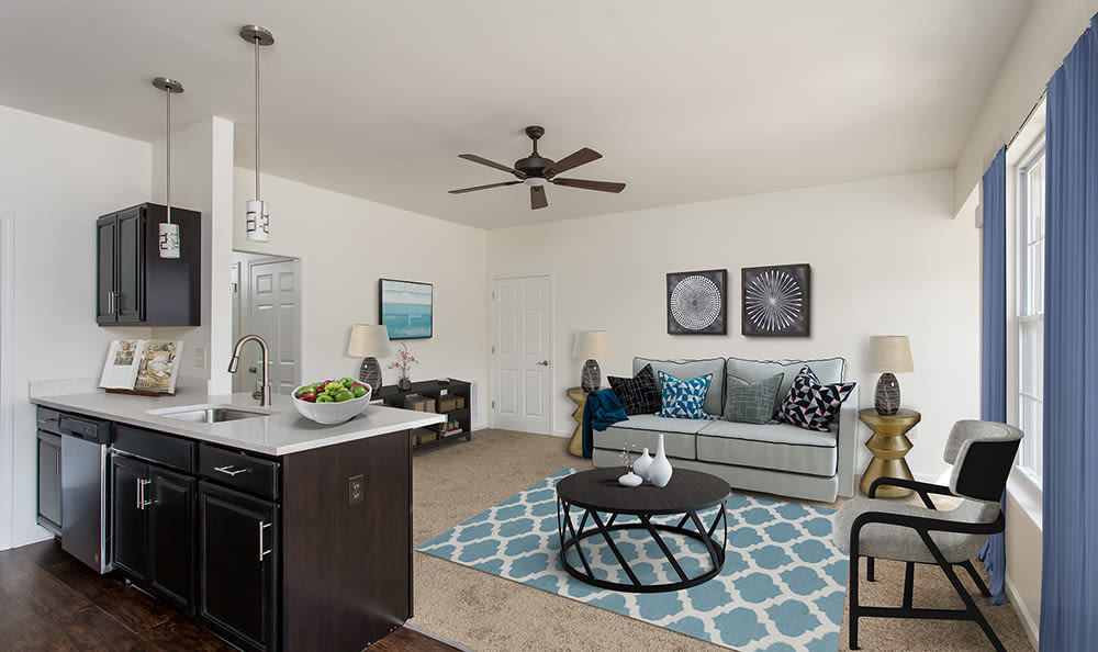 Newly updated living rooms at Avon Commons in Avon, New York