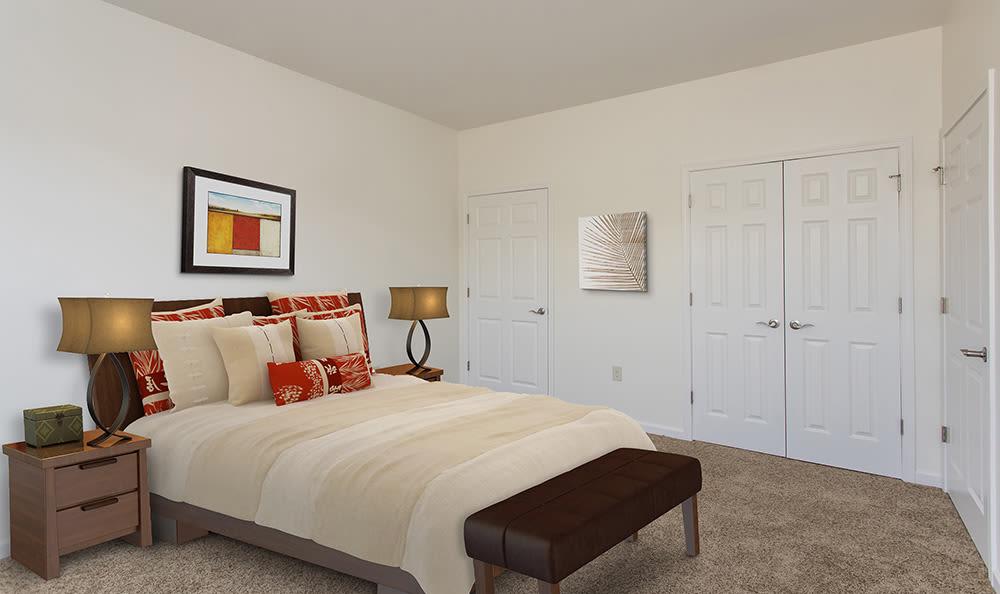 Bright bedroom at Avon Commons in Avon, New York