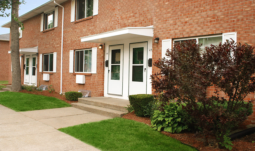 Beautiful brick exterior of Brockport Crossings Apartments & Townhomes in Brockport, New York