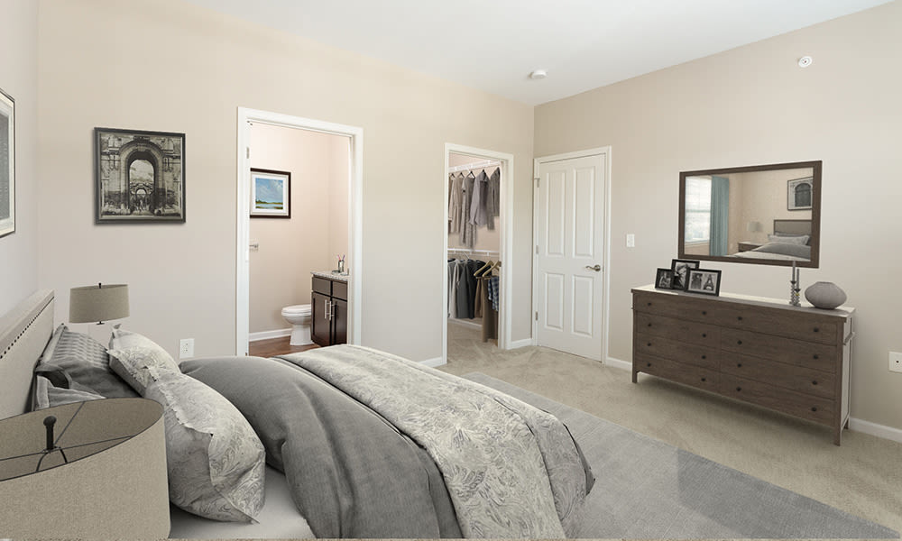 Bright master bedroom at Canal Crossing in Camillus, New York